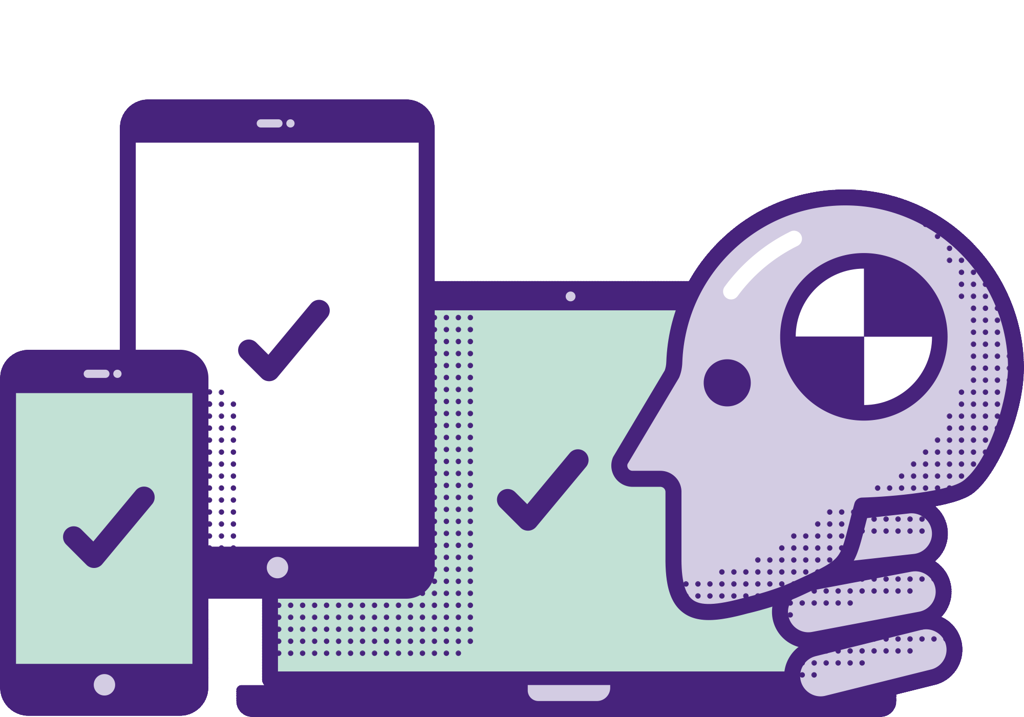 En illustration av en testdocka som undersöker en smartphone, en surfplatta och en laptop.