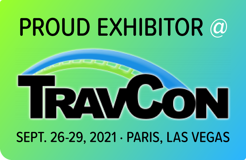 Badge for being a TravCon Exhibitor 2021.