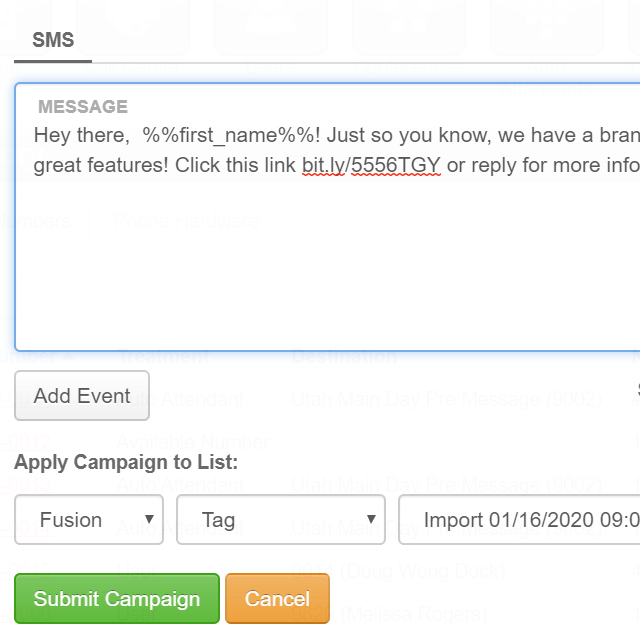 SMS Fusion Campaigns