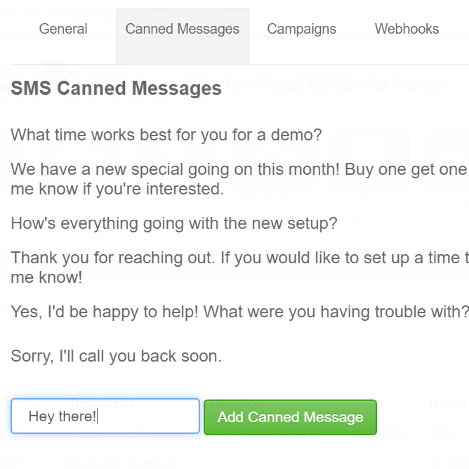SMS Canned Messages