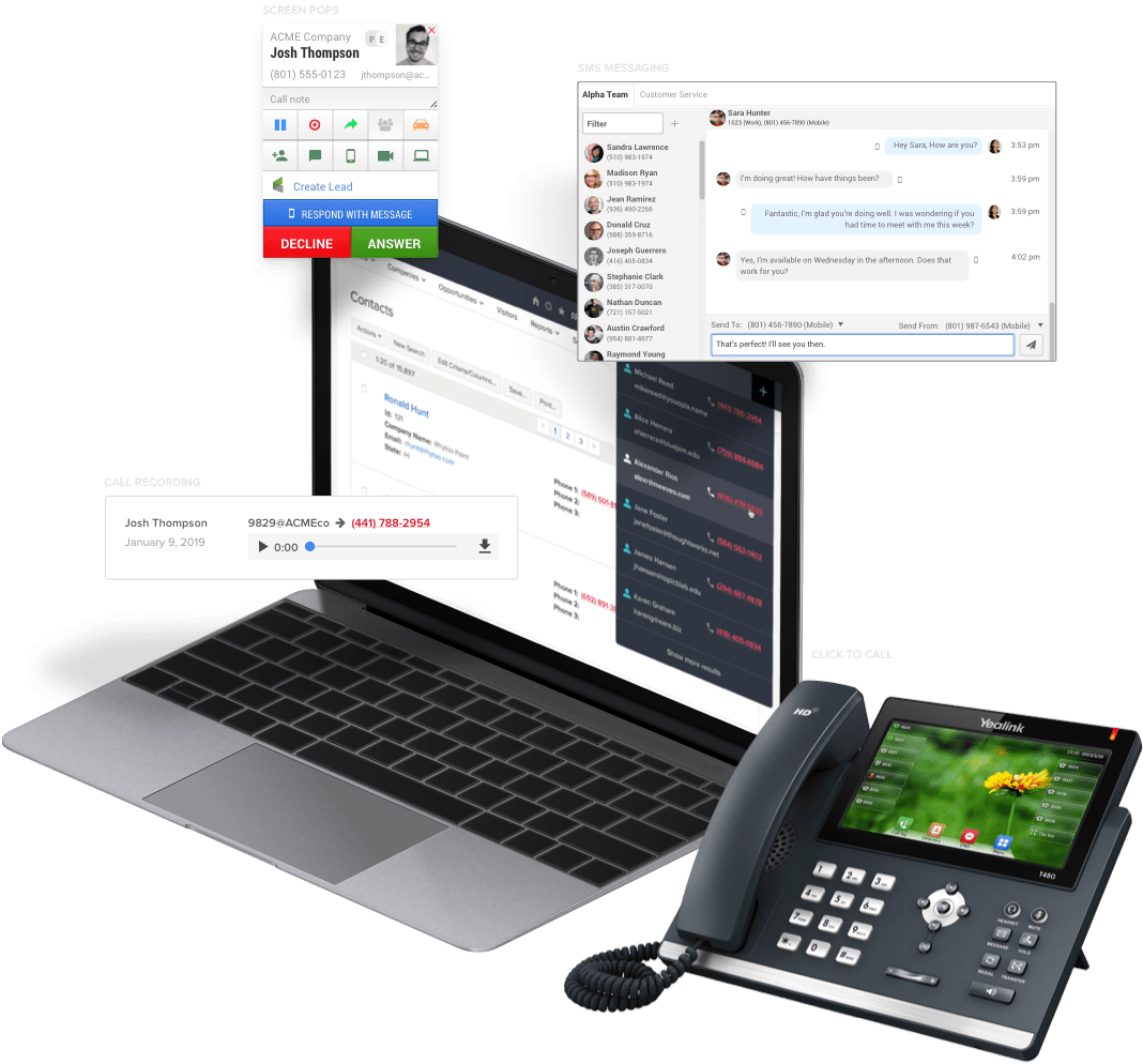 A desk phone and laptop with a CRM up and Fusion bringing call recording, screen pops, and SMS messaging to the phone system