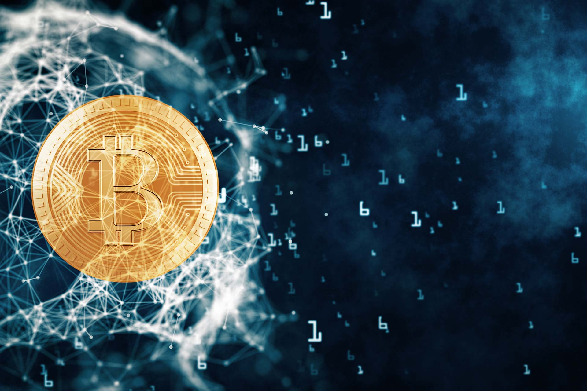 Understanding Cryptocurrency - Image of cyber/web background with bitcoins
