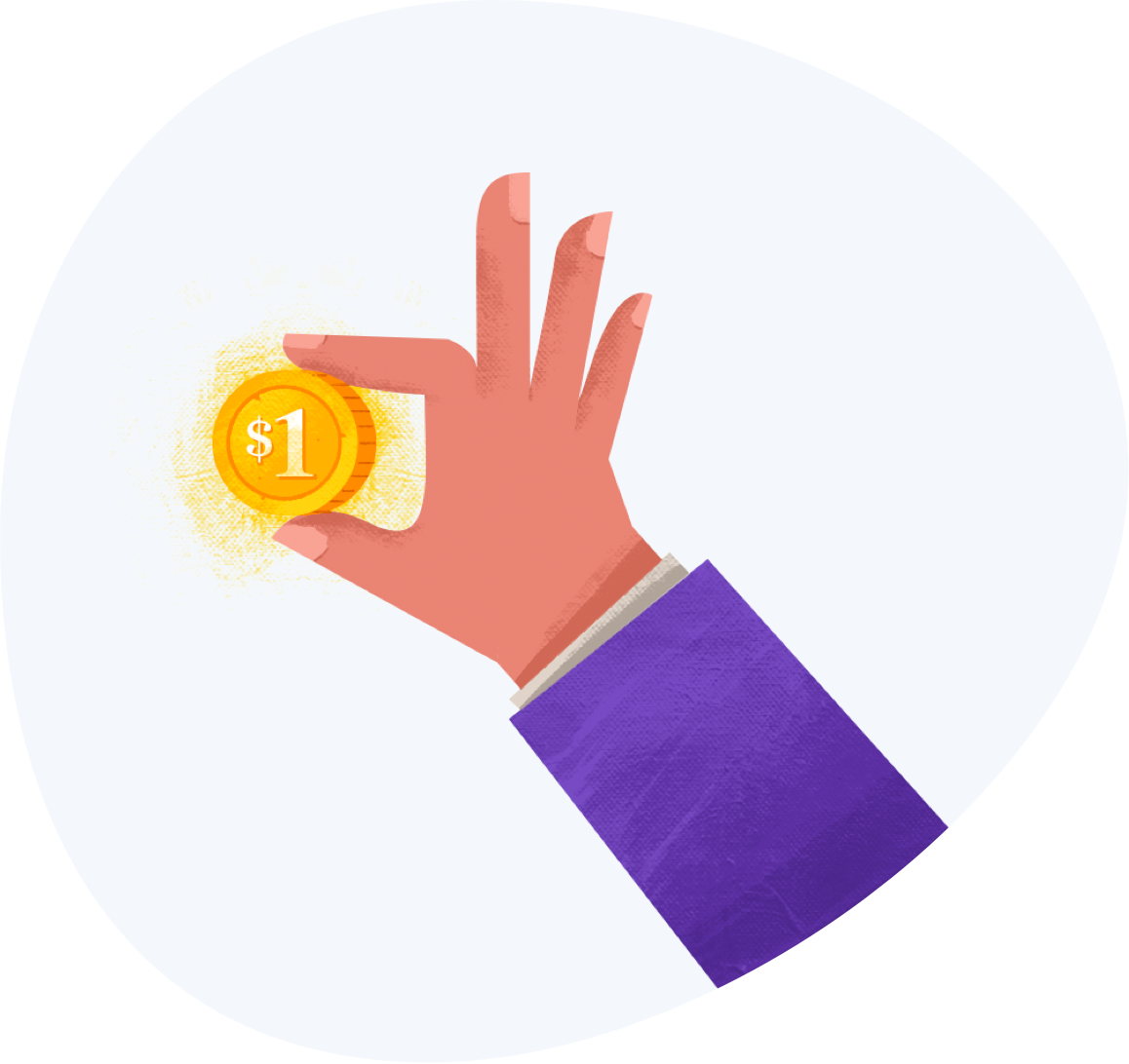 A cartoon hand holding a coin that says one dollar
