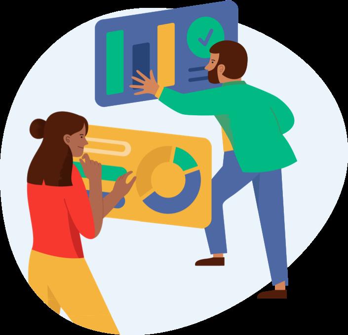 A man and a woman are examining charts