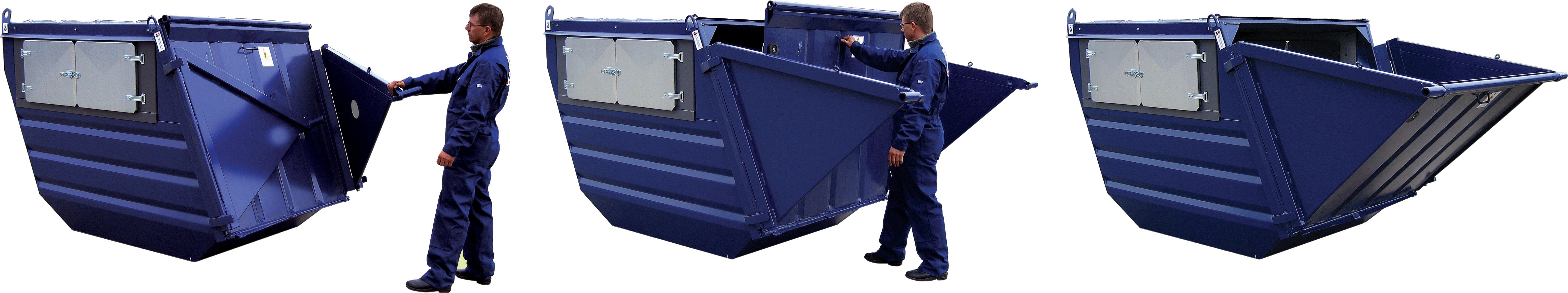 Bildet viser hvordan man åpner tømmeluke