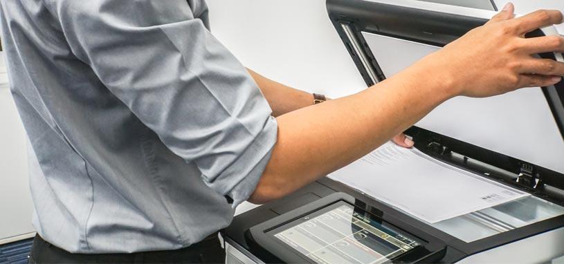 business man using printer service