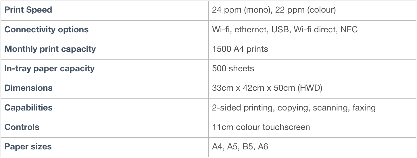 Epson printer specifications