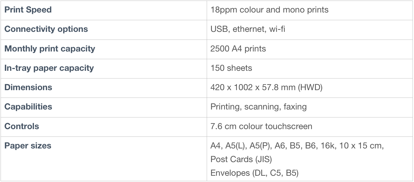 Brother printer specifications