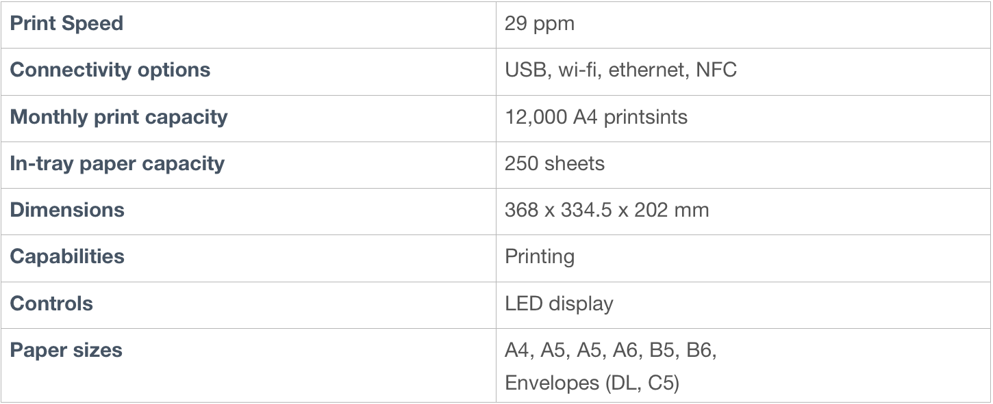 Samsung printer specifications