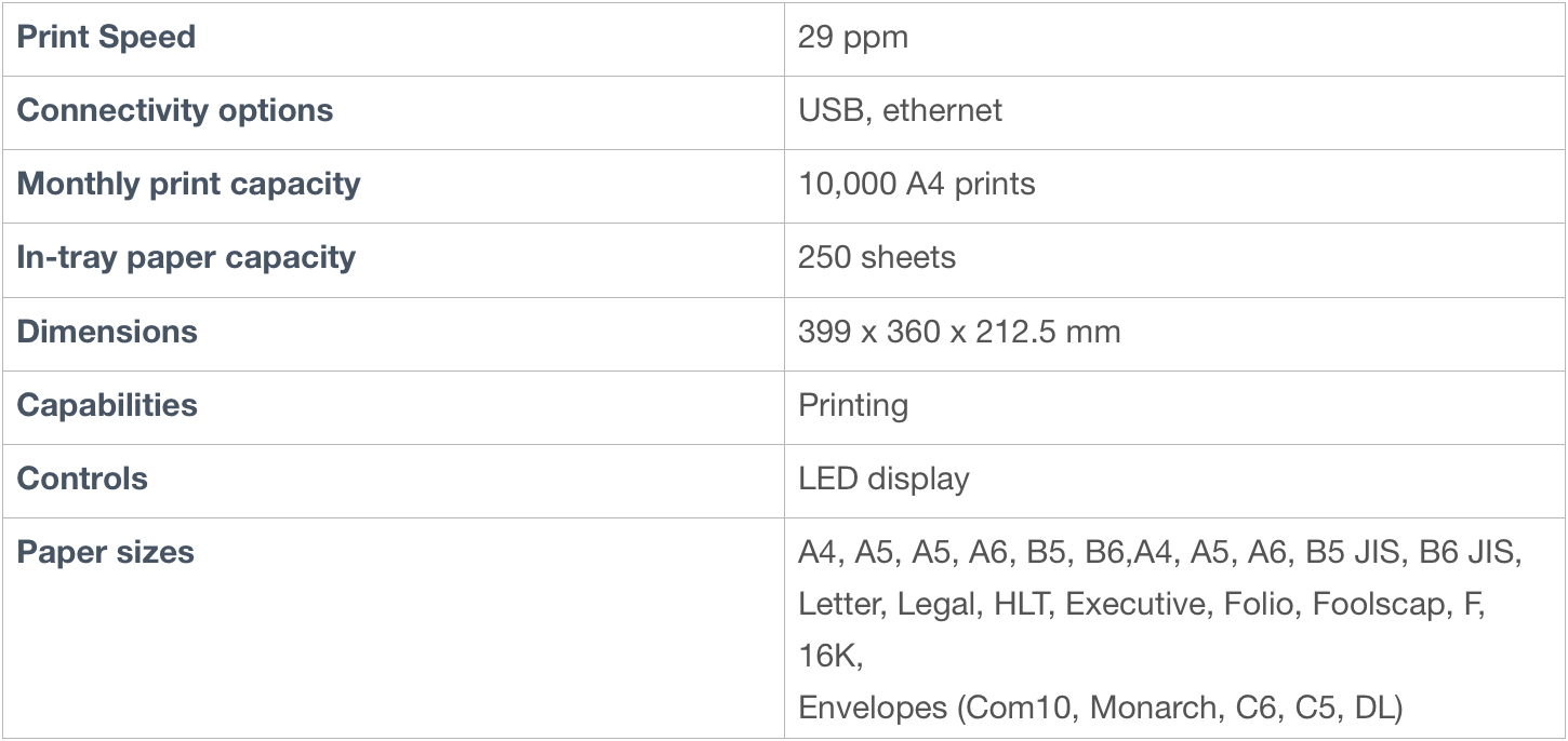 Ricoh printer specifications
