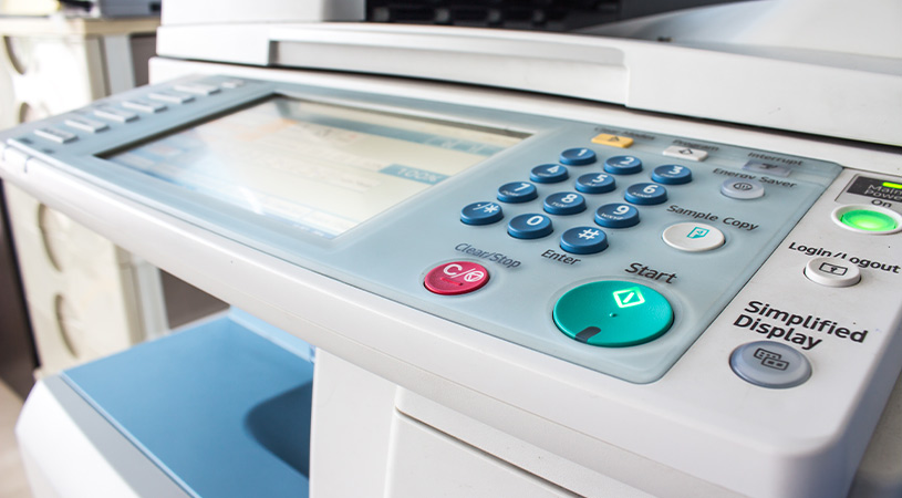 close up of printer screen