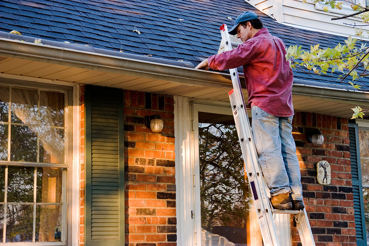 man on ladder cleaning tree leaves from gutters