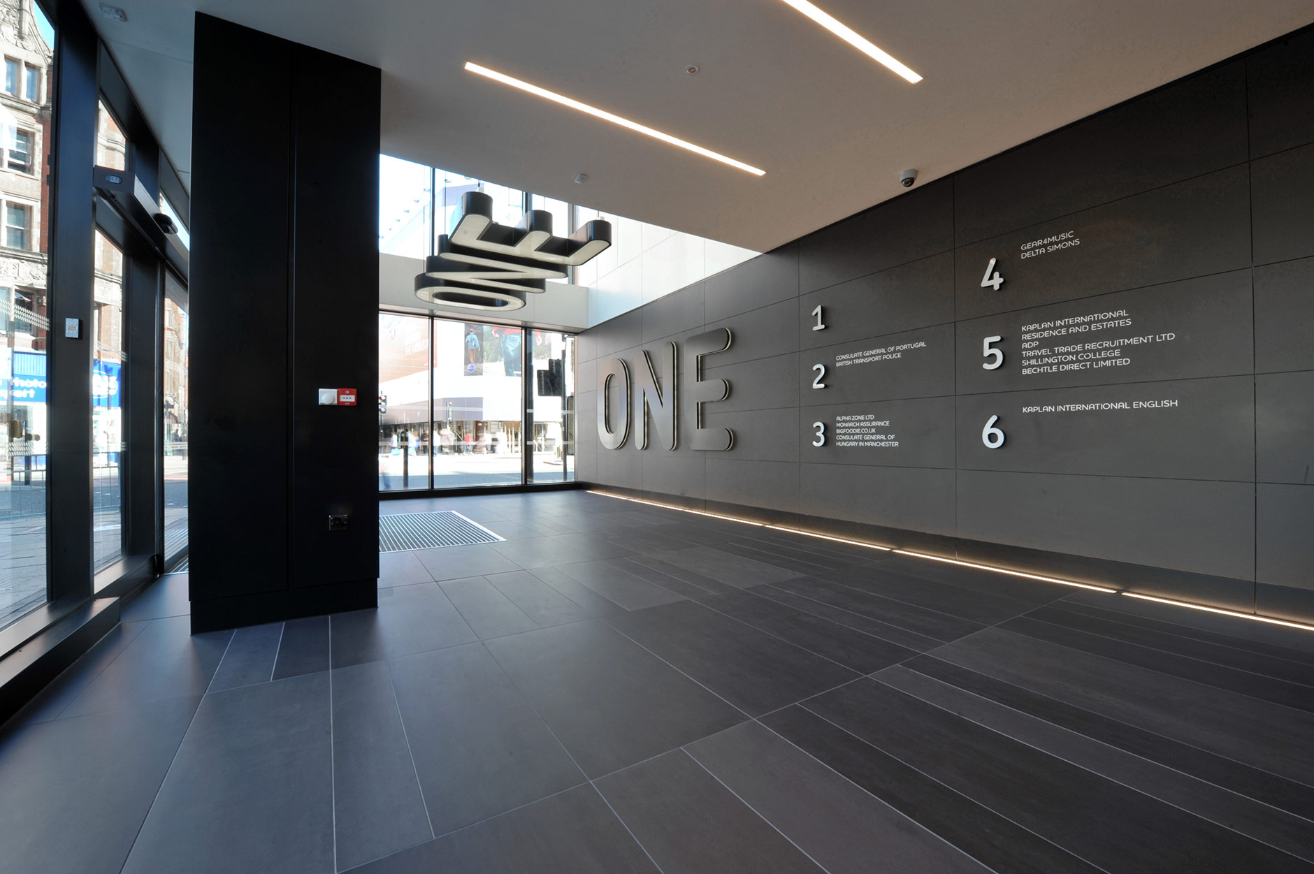 an image of the inside of the entrance to One Portland Street