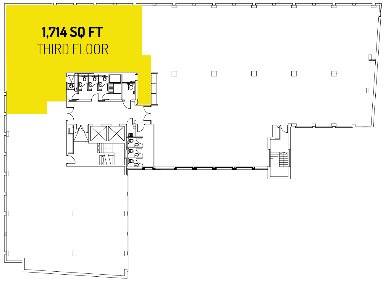 1,714 sq ft on the third floor