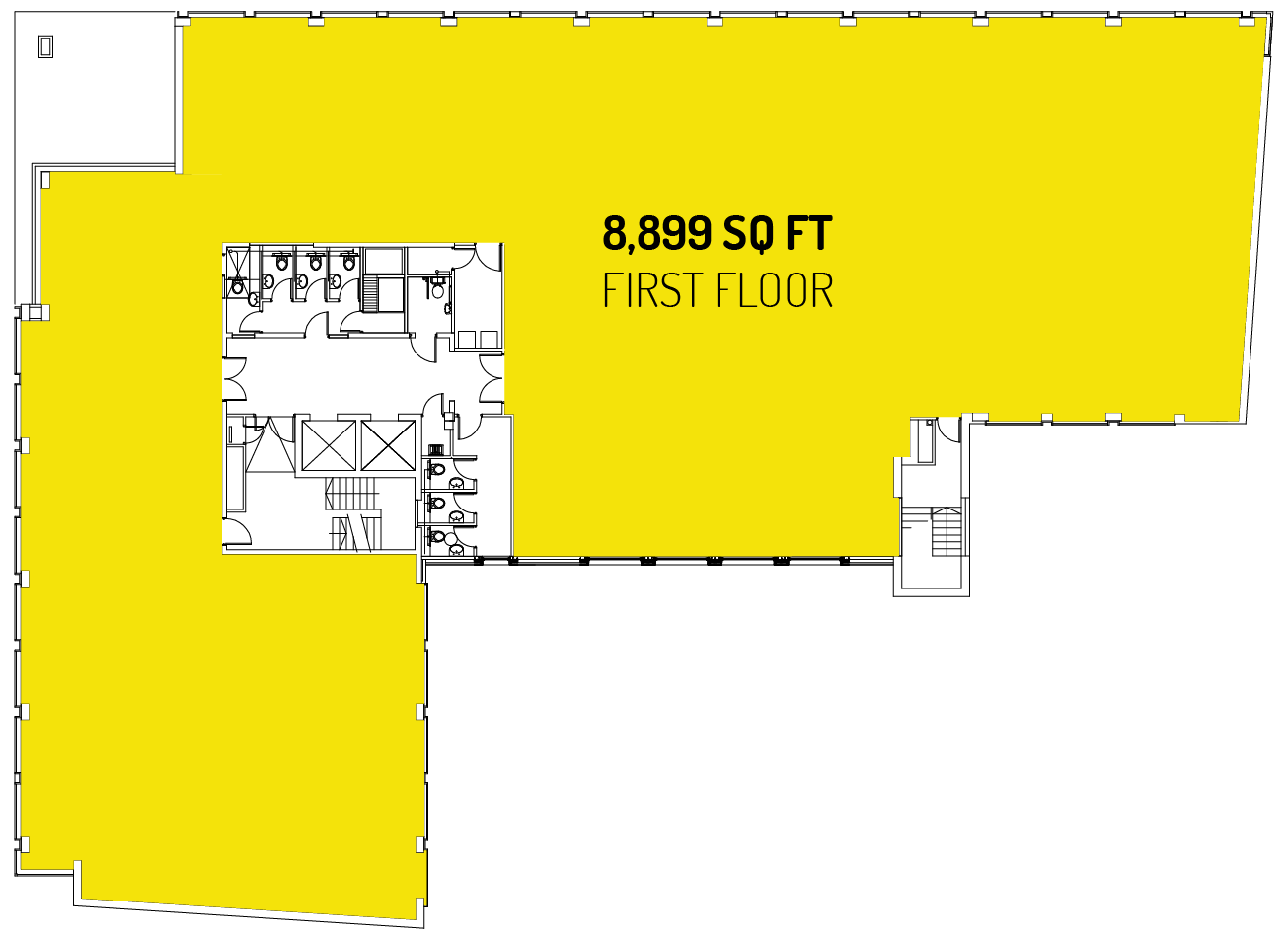 8,899 sq ft on the first floor