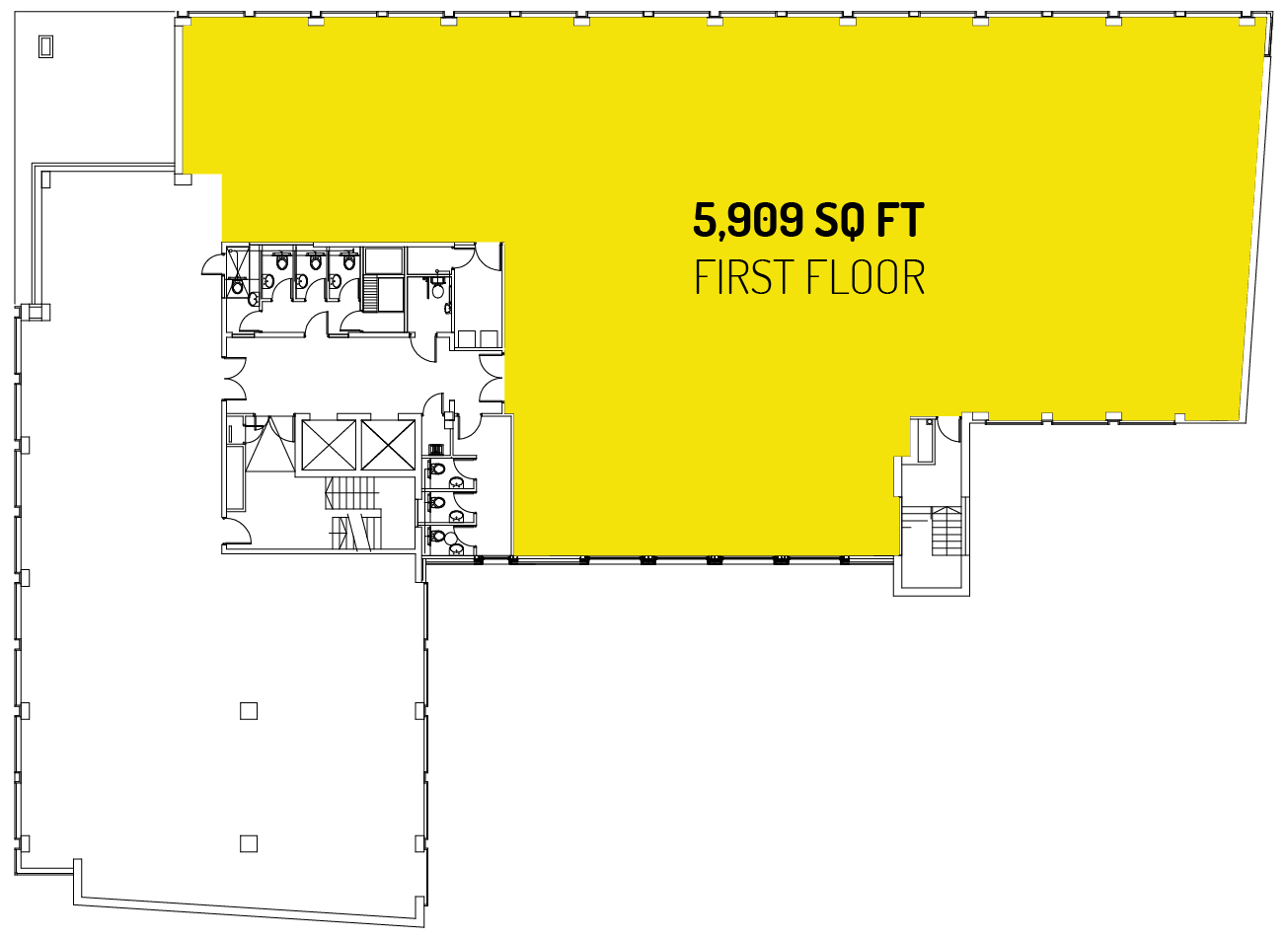 5,909 sq ft on the first floor