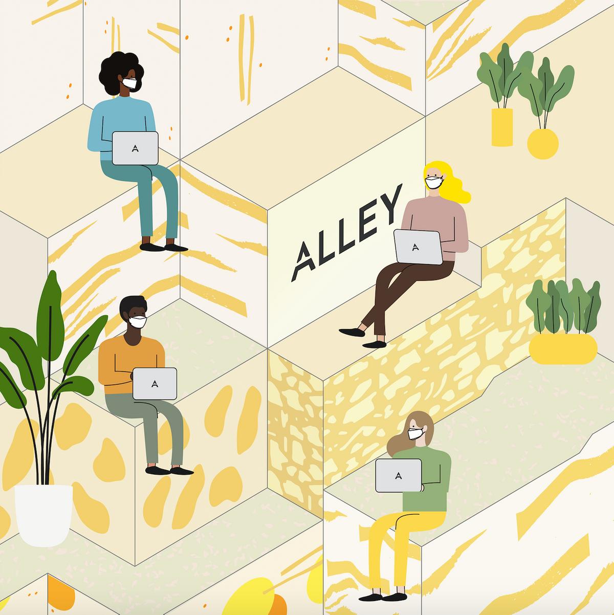 illustration of people working