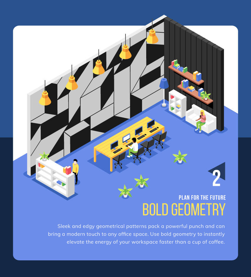 Geometry wall mural idea for coworking space