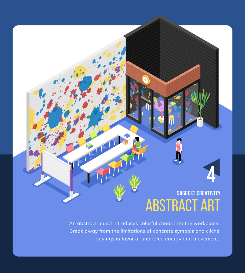 Abstract art wall mural idea for coworking space