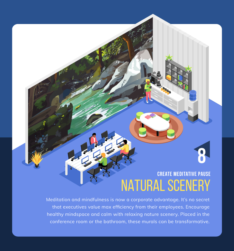 natural scenery wall mural idea for coworking space