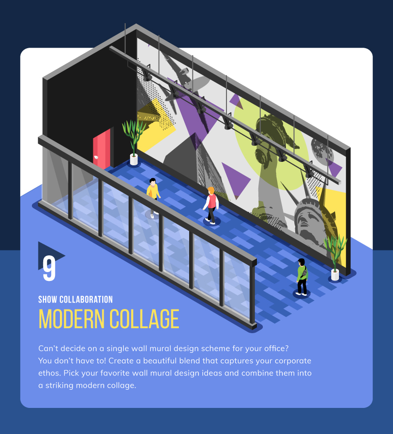 Collage wall mural idea for coworking space