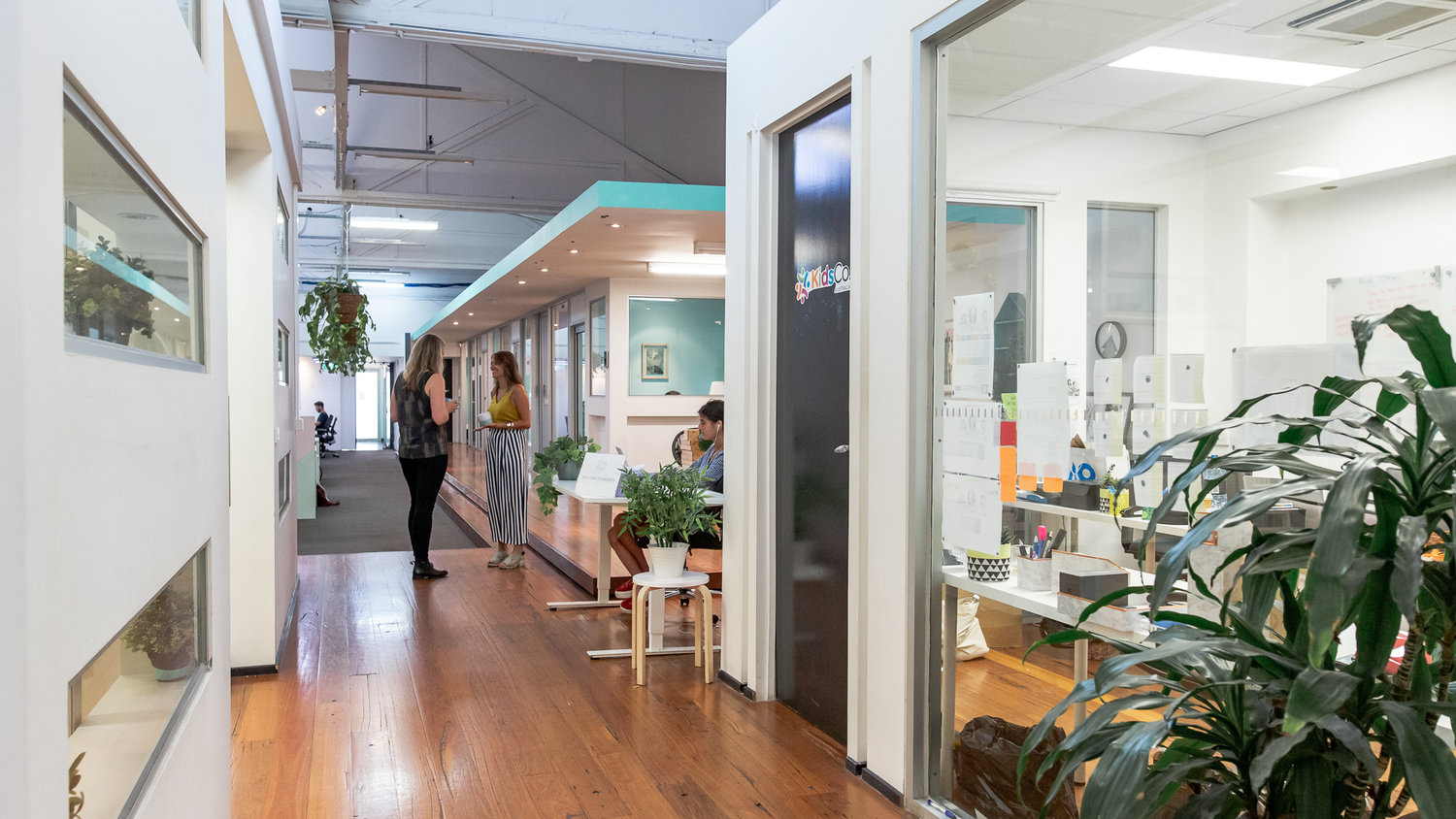 coworking space with white walls
