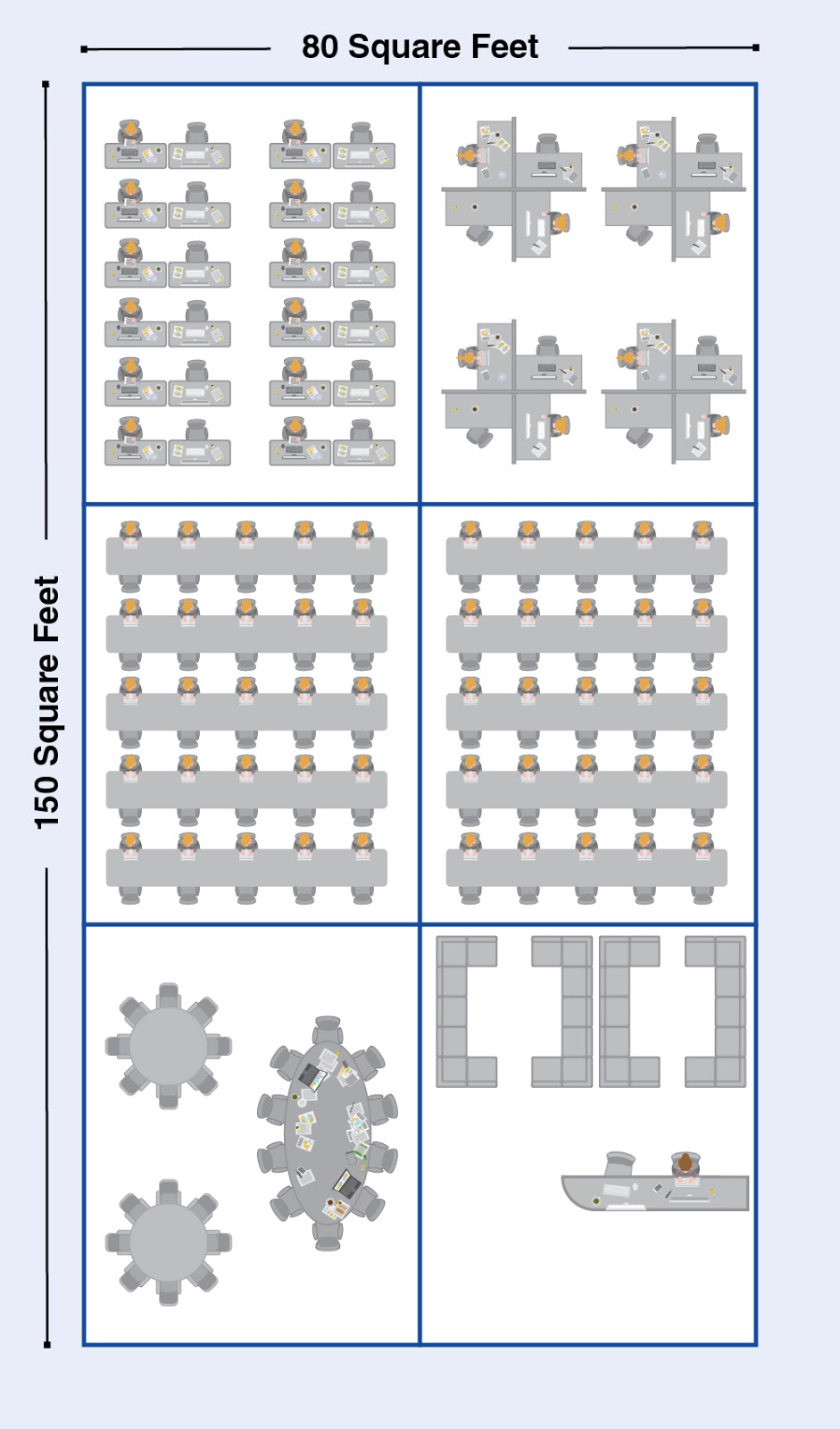 illustration of coworking desk layout with square footage