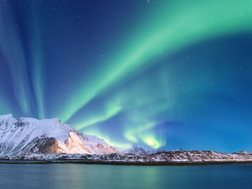 northern lights, ocean, and snowy mountains