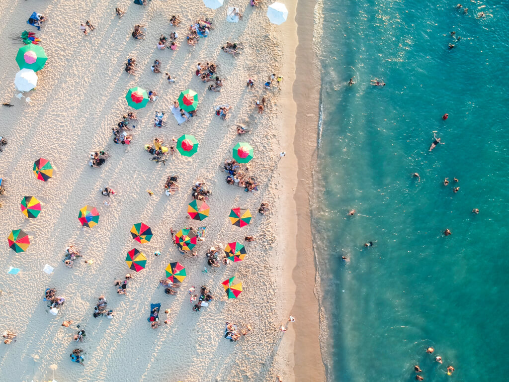 Overhead view of Miami beach