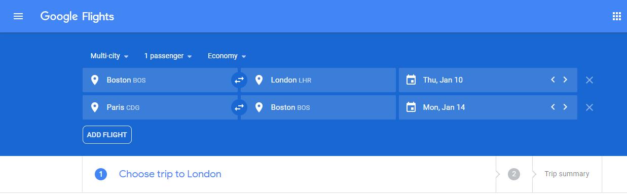 multi-city flight search on google flights