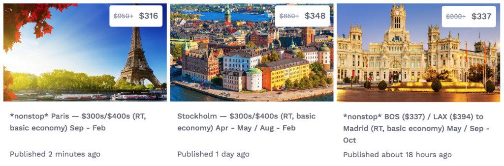offres de vols pour l'Europe