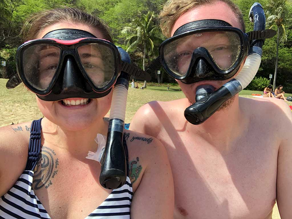 Scott's Cheap Flights member Alyssa F. in Hawaii wearing mask and snorkel