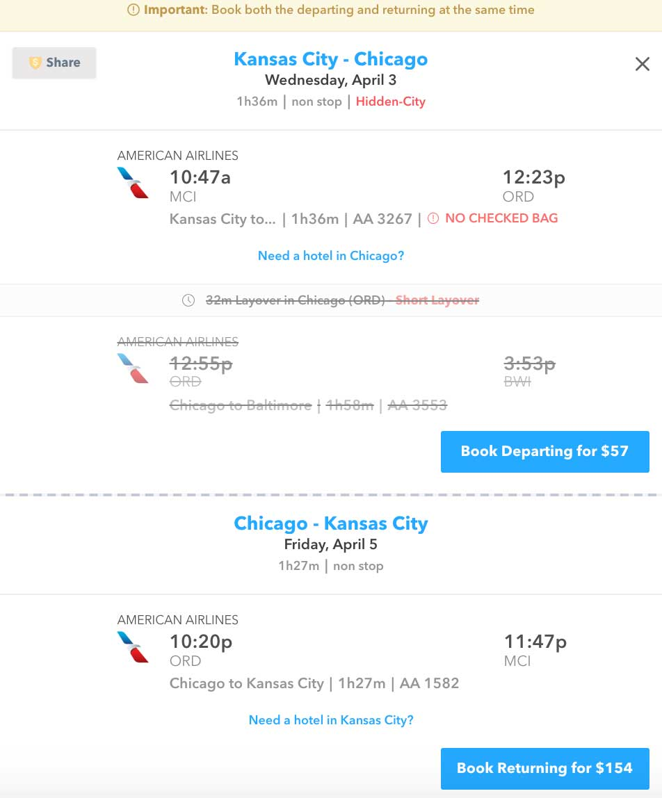 screenshot of flight booking page on Skiplagged