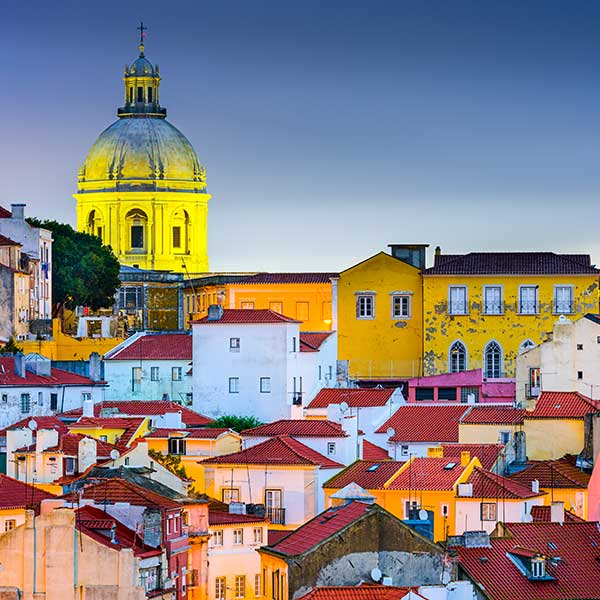 Houses on hill in Lisbon, Portugal
