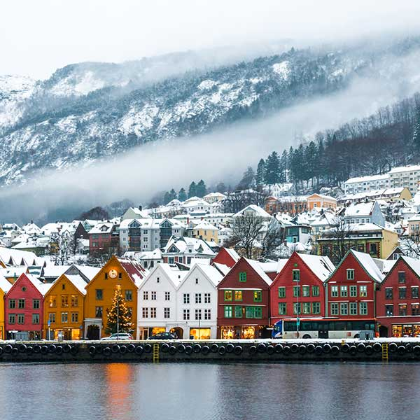 Houses along water in Bergen, Norway