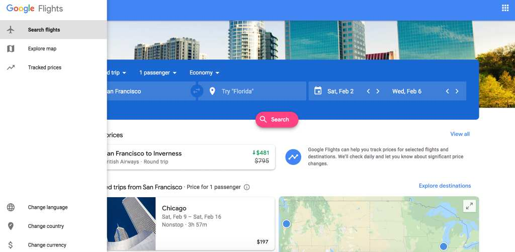 vertical menu on google flights