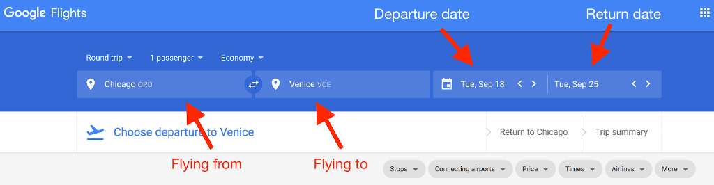 setting departure and arrival cities on google flights