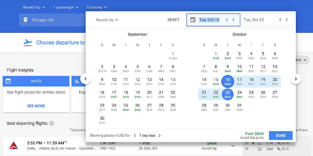 selecting dates on google flights