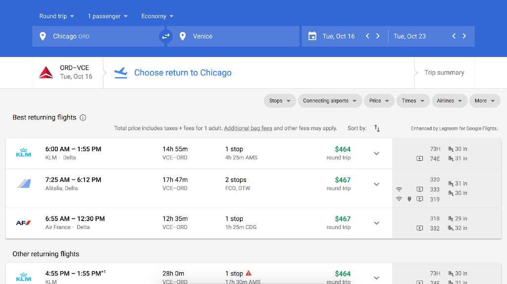 choosing flights on google flights