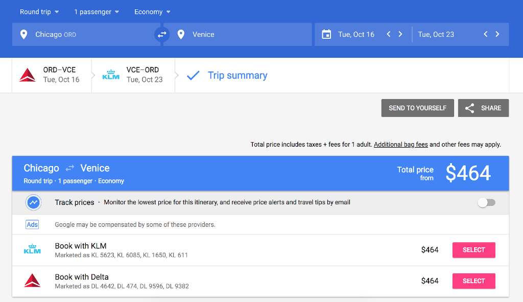 booking on google flights