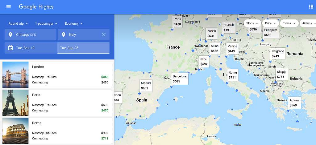map view on google flights