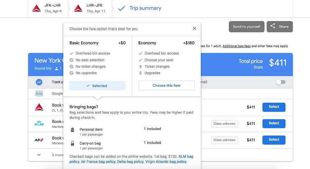 selecting travel class on google flights