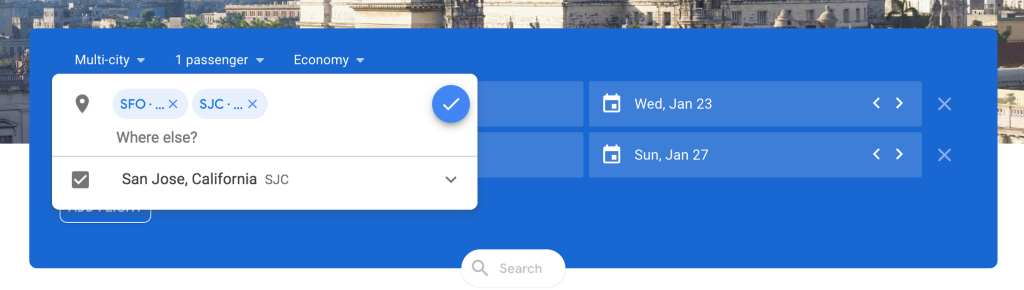 searching multiple cities on google flights