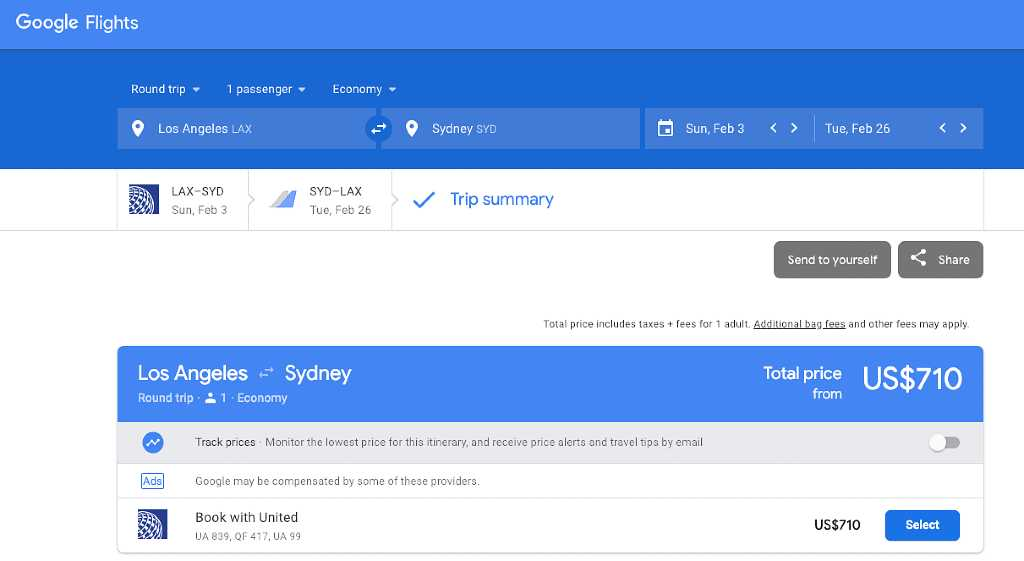 flight search from LAX to Sydney