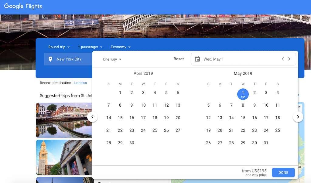 low price calendar on google flights