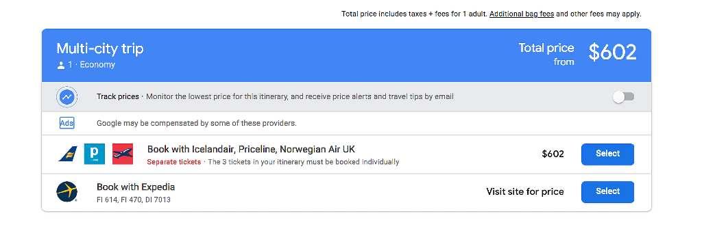 booking multiple fligths on google flights