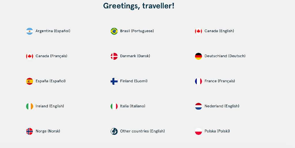 Selecting Norway as your country on Norwegian Air