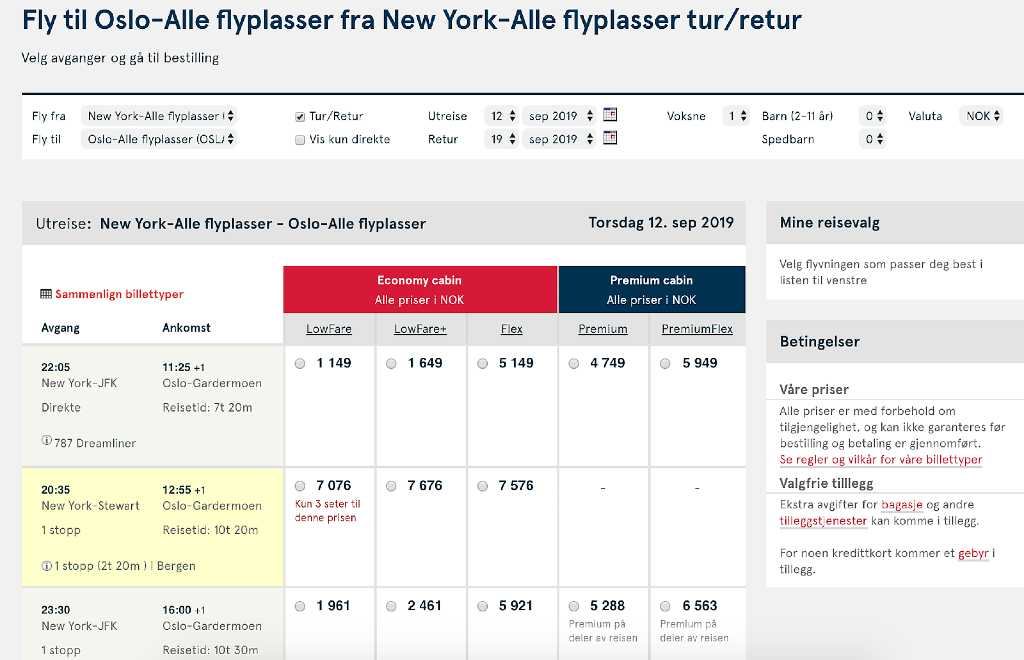 flight results on Norwegian air