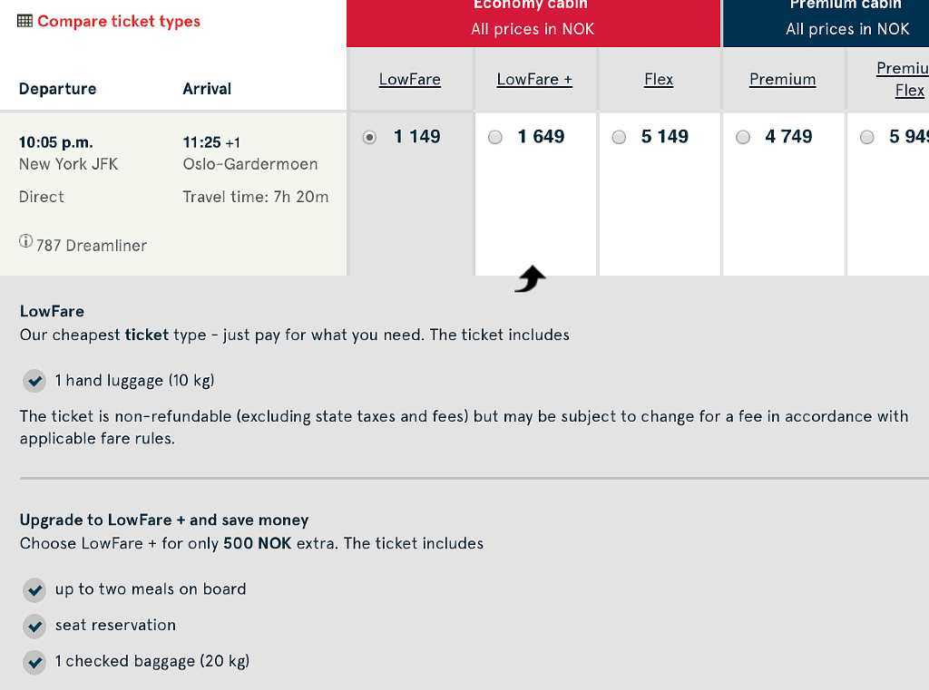 selecting flights on norwegian air