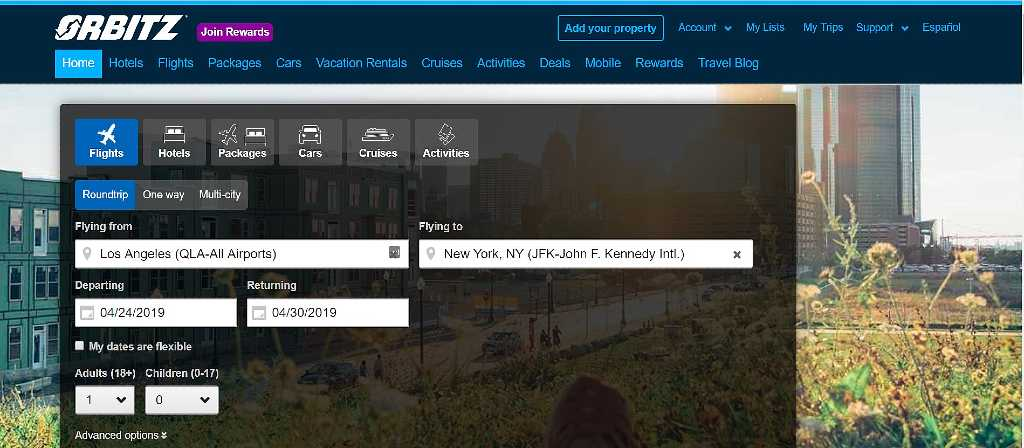 selecting flights and inputting locations on Orbitz